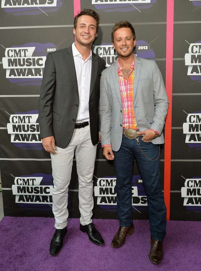 NASHVILLE, TN - JUNE 05:  Eric Gunderson (L) and Stephen Barker Liles of Love and Theft attend the 2013 CMT Music awards at the Bridgestone Arena on June 5, 2013 in Nashville, Tennessee.  (Photo by Rick Diamond/Getty Images)