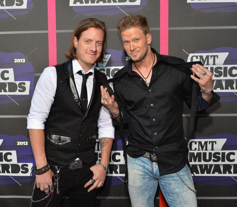 NASHVILLE, TN - JUNE 05:  (L-R) Musicians Tyler Hubbard and Brian Kelley of Florida Georgia Line attend the 2013 CMT Music awards at the Bridgestone Arena on June 5, 2013 in Nashville, Tennessee.  (Photo by Rick Diamond/Getty Images)