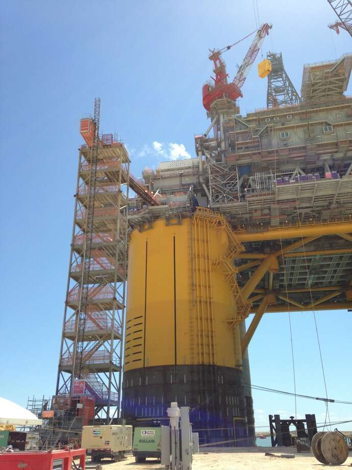 The Olympus, designed to operate in water depths of 3,000 to 8,000 feet, will be Shell's sixth tension leg platform in the Gulf. Photo: Emily Pickrell, Houston Chronicle