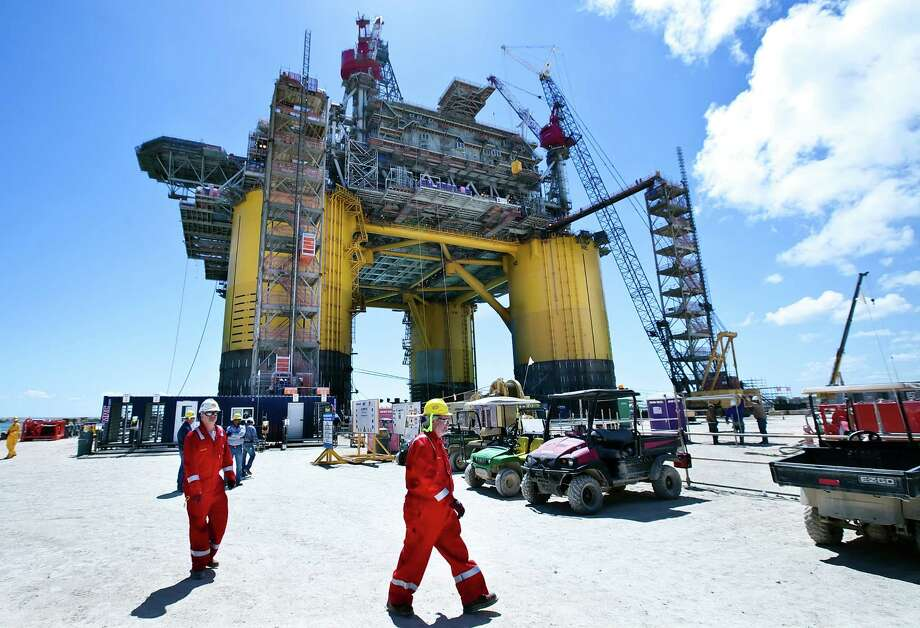 Shell's Olympus production platform rises above the Ingleside shipyard near Corpus Christi. It will head out into the Gulf in a month. Photo: George Tuley