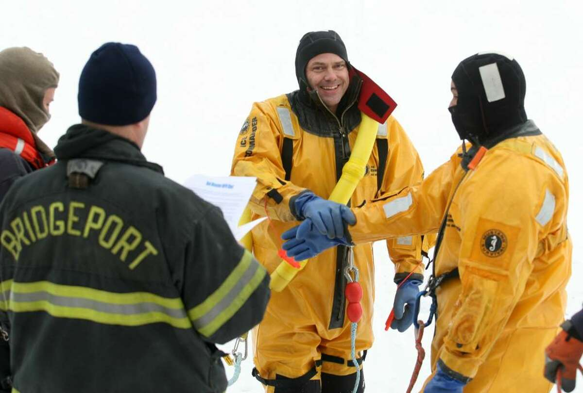 Bridgeport Fire ice rescue drills, Lake Forest in Bridgeport, Conn on Wednesday, January 13, 2010.