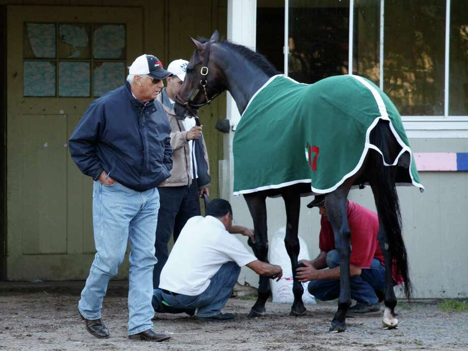Preakness winner Oxbow is watched by trainer D. Wayne Lukas after a light workout, Tuesday, June 4, 2013 at Belmont Park in Elmont, N.Y. Oxbow is entered in Saturday's Belmont Stakes horse race. (AP Photo/Mark Lennihan) Photo: Mark Lennihan
