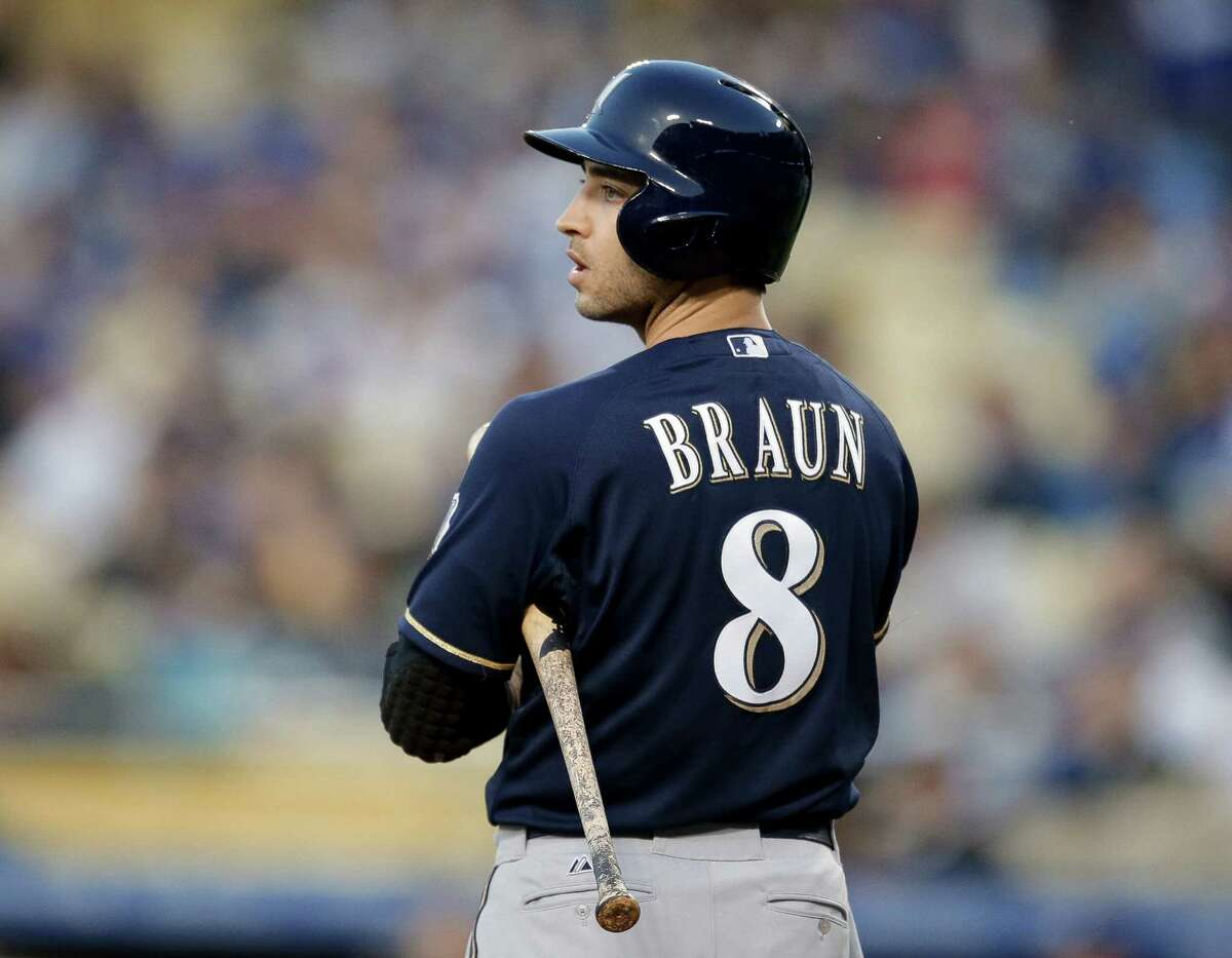 In this April 26, 2013 file photo, Milwaukee Brewers' Ryan Braun gets ready to bat during a baseball game against the Los Angeles Dodgers in Los Angeles.