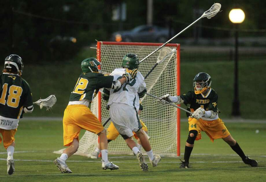 Shen's Tyler Olney shots and scores his teams first goal during the Class A boys' lacrosse state semifinal game between Shenendehowa and Ward Melville  on Wednesday June 5, 2013 in Poughkeepsie, N.Y.  (Michael P. Farrell/Times Union) Photo: Michael P. Farrell