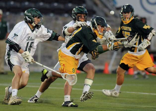 Shenendehowa and Ward Melville players battle for the ball during the Class A boys' lacrosse state semifinal game at Marist College on Wednesday June 5, 2013 in Poughkeepsie, N.Y.  (Michael P. Farrell/Times Union) Photo: Michael P. Farrell