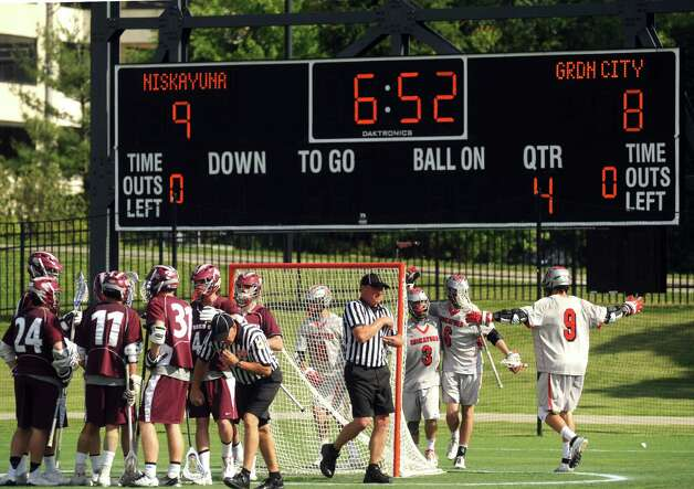 Niskayuna takes a 9-8 lead with 6:52 in the game during their 10-9 loss to Garden City in the Class B boys' lacrosse state semifinal at Marist College on Wednesday June 5, 2013 in Poughkeepsie, N.Y.  (Michael P. Farrell/Times Union) Photo: Michael P. Farrell