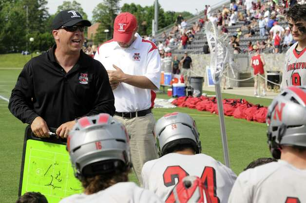 Niskayuna head coach Nick Davey talks with his team at half during a 10-9 loss to Garden City in the Class B boys' lacrosse state semifinal at Marist College on Wednesday June 5, 2013 in Poughkeepsie, N.Y.  (Michael P. Farrell/Times Union) Photo: Michael P. Farrell