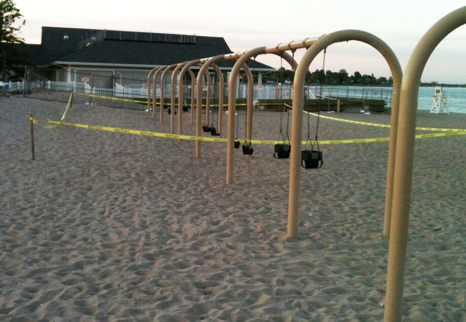 Yellow tape marks area on Penfield Beach where a playground would be built in memory of Jessica Rekos, a first-grader killed in the Sandy Hook School massacre last November. FAIRFIELD CITIZEN, CT 6/5/13 Photo: Andrew Brophy / Fairfield Citizen contributed