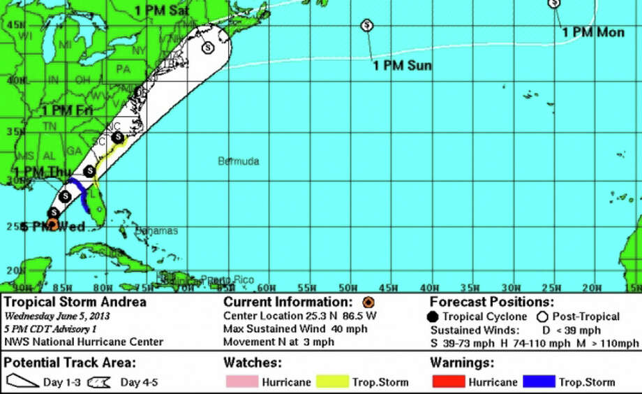 Position of Tropical Storm Andrea at 4 a.m. Thursday, June 6 Photo: Contributed Photo / Connecticut Post Contributed