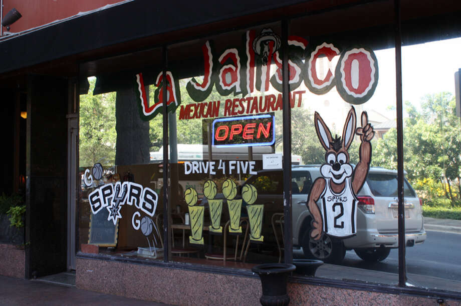 "La Jalisco's decorators are one of the many who urge the Spurs to ""Drive for Five."" The family-owned Mexican restaurant is located at Main Plaza."