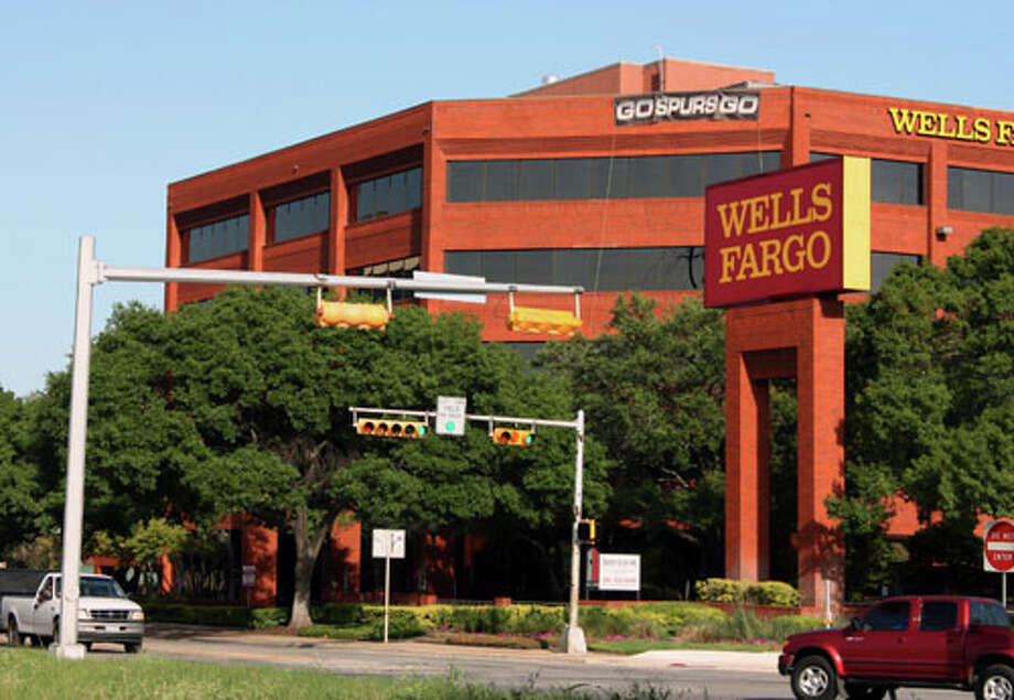 A Wells Fargo bank building off U.S. 281 shows love for the Spurs to passing vehicles.