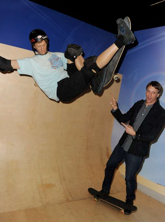 Tony Hawk with his wax figure
