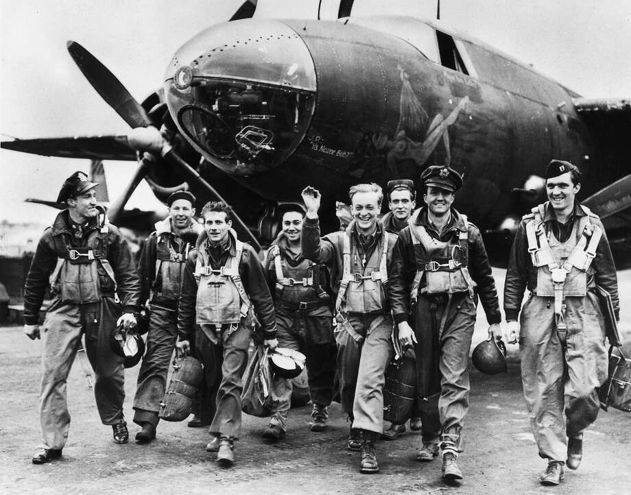 D-Day Plus One:Bomber crews of the US Ninth Airforce leave their B26 Marauder aircraft after returning from a mission to support the D-Day landings in Normandy by disrupting German lines of communication and supply. Photo: Fred Ramage, Getty Images / Hulton Archive