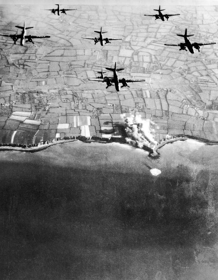 D-Day:Douglas A-20 Havocs of US 9th Army Air Force bombing German coastal defenses around Pointe Du Hoc prior to the D-Day landings. Photo: US Air Force, Time & Life Pictures/Getty Image / US Air Force