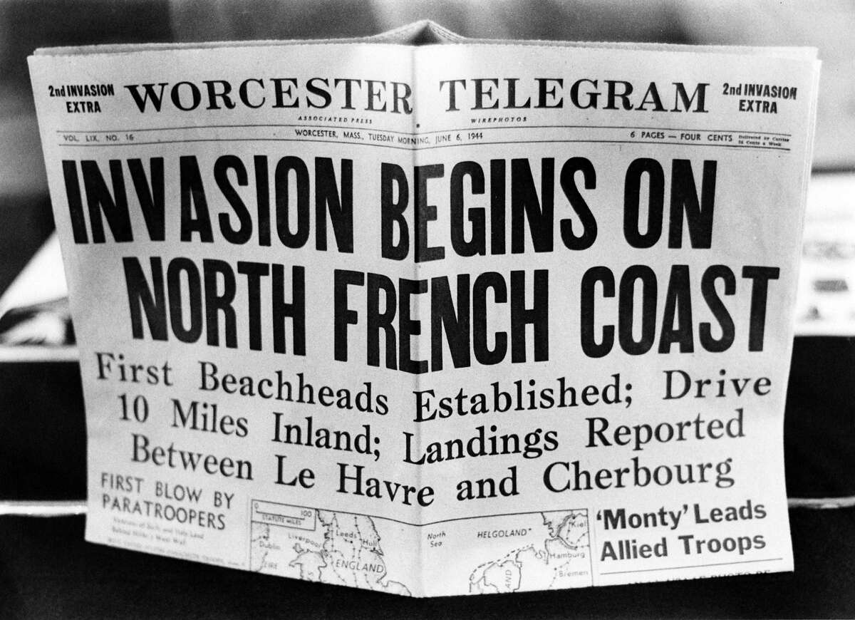 D-Day: A '2nd Invasion Extra' edition of the Worcester Telegram newspaper, published in Worcester, Massachusetts, reporting the Allied invasion of Normandy on D-Day.