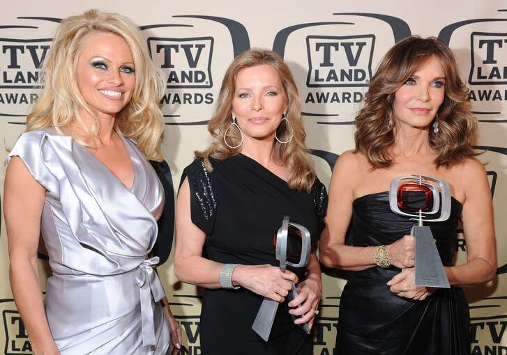 Hanging out with ''Charlie''s Angels.'' It's Pamela Anderson with ''Pop Culture award'' winners Cheryl Ladd, center, and Jaclyn Smith, right, in 2010.