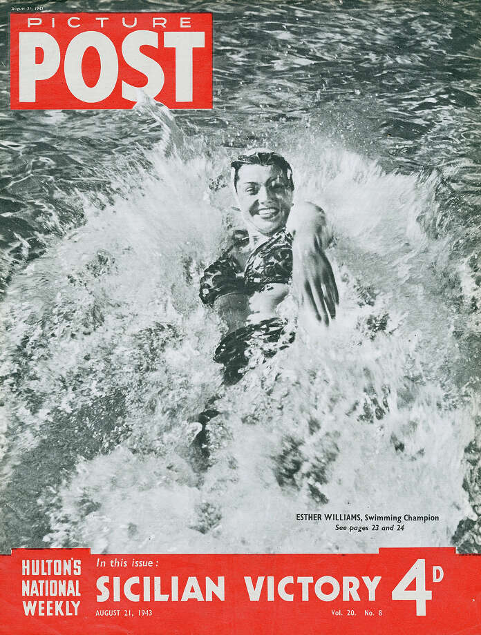 American swimmer and actress Esther Williams features on the the cover of Picture Post magazine, August 1943. She is seen swimming at the Beverly Wilshire pool, Los Angeles. Photo: IPC Magazines/Picture Post, Getty Images  / 2012 Getty Images