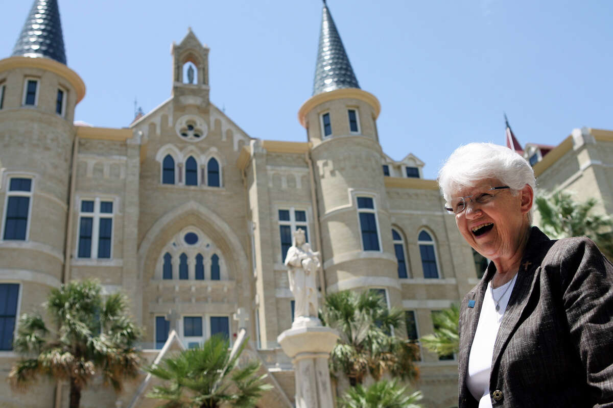 Sister Jane Ann Slater, interim president of Our Lady of the Lake University, stands by the main building recently. A reader comments on the controversial departure of her predecessor, Tessa Martinez Pollack.