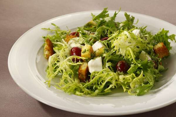 Salad with cherries, brioche croutons, mozzarella and basil dressing as seen in San Francisco, California, on May 29, 2013. Food styled by Tara Duggan.