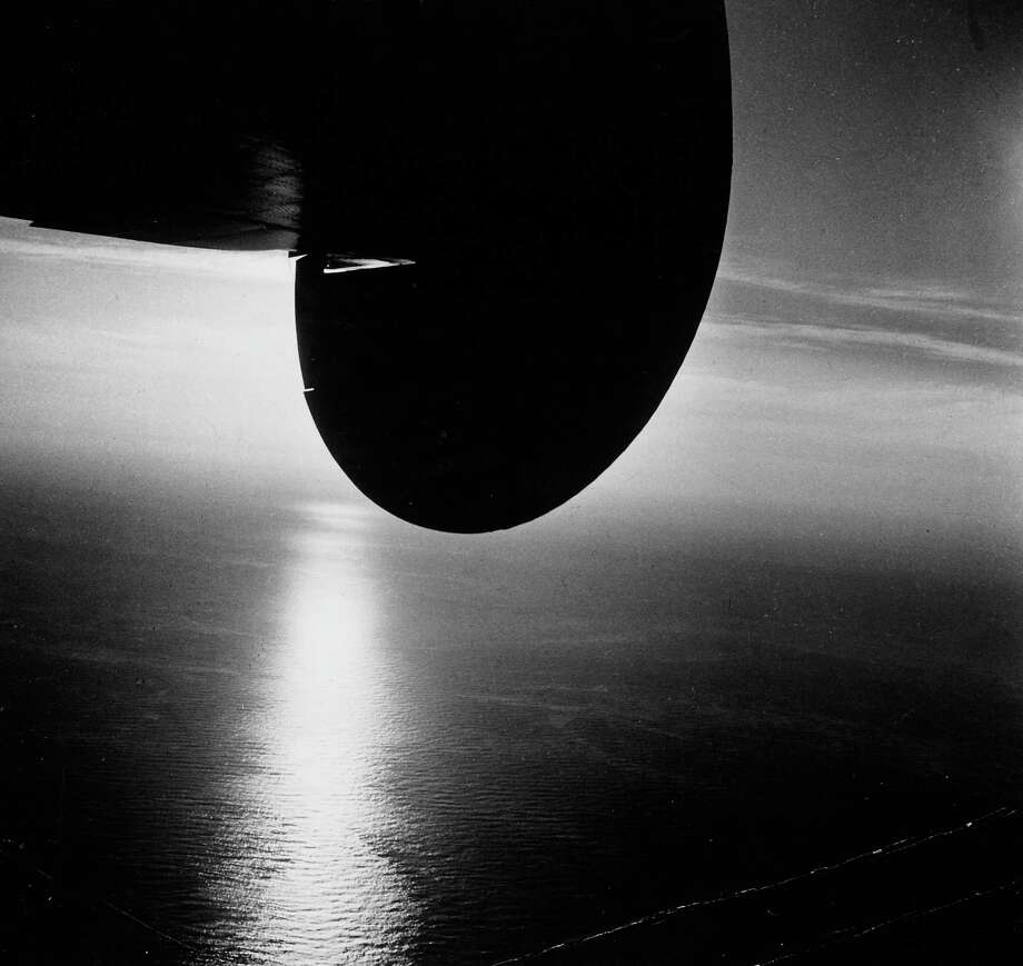 The tail of a Pan Am Clipper is pictured above the Atlantic ocean in flight. Photo: Bernard Hoffman, Time & Life Pictures/Getty Image / Time Life Pictures