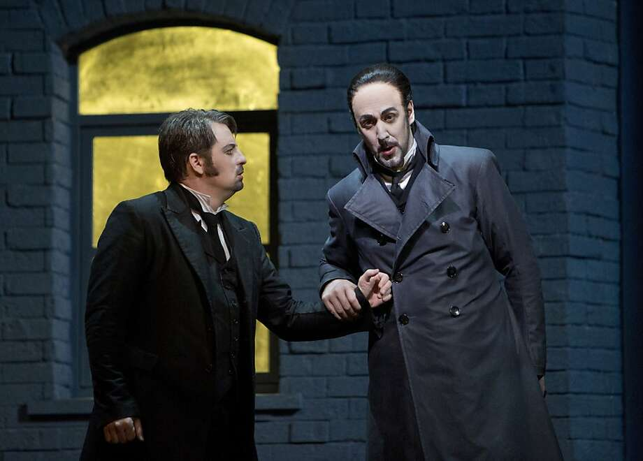 "Matthew Polenzani (left) plays Hoffmann with vocal clarity and Christian Van Horn is a villainous Lindorf in ""Tales of Hoffmann."" Photo: Cory Weaver/SF Opera"