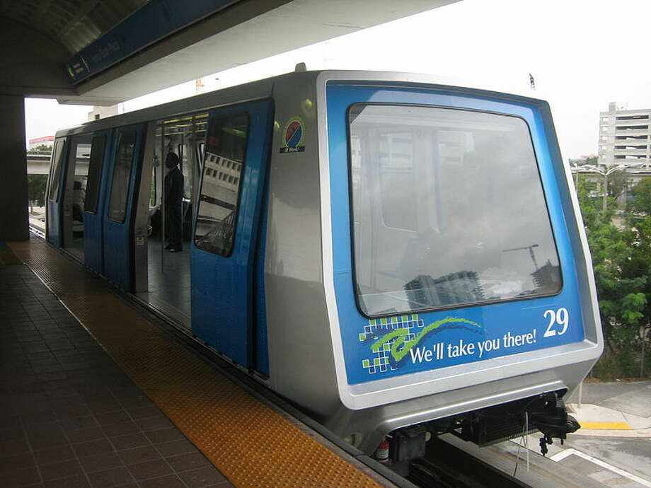 Riding the Metrorail can provide easy transportation for Miami inhabitants. Run on a 25 mile dual track, the elevated rail system stops at 23 stations. Fare is $2.25 for the Metrorail. Photo: Wikimedia Commons