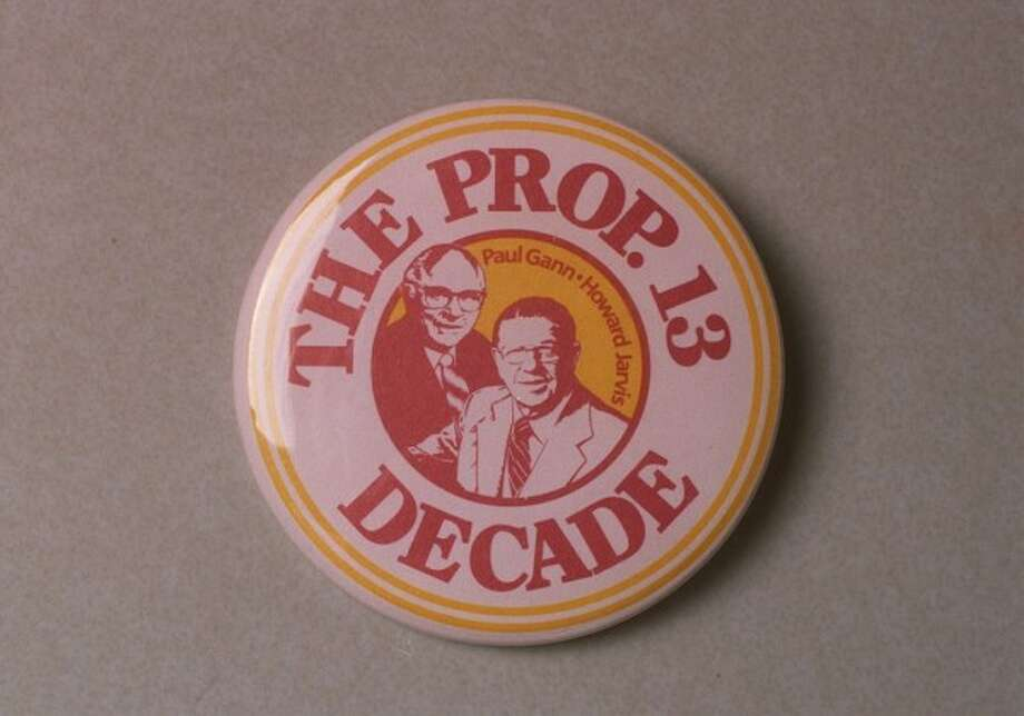 A campaign button that is part of the California State Library collection, recalls the Jarvis-Gann Initiative of 1978, better known today simply as Prop. 13.