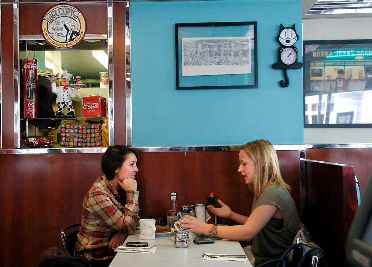 Brooke Atherton, left and friend, Pauline L'Herbette, both of New Canaan, enjoy lunch at the New Canaan Diner on 18 Forest Street in New Canaan, Wednesday, Jan. 13th, 2010.