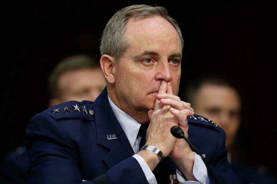 "Chief of Staff of the Air Force Gen. Mark Welsh III testifies with U.S. military leaders before the Senate Armed Services Committee on pending legislation regarding sexual assaults in the military June 4, 2013 in Washington, DC. A recent survey of active duty personnel by the Pentagon revealed that 6.1 percent of women and 1.2 percent of men reported receiving ""unwanted sexual contact"" in the past year.  (Photo by Win McNamee/Getty Images) Photo: Getty Images / 2013 Getty Images"