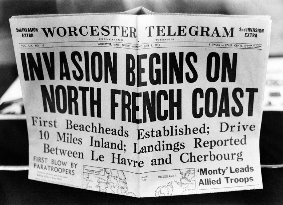 D-Day: A '2nd Invasion Extra' edition of the Worcester Telegram newspaper, published in Worcester, Massachusetts, reporting the Allied invasion of Normandy on D-Day. Photo: FPG, Getty Images / 2009 Getty Images