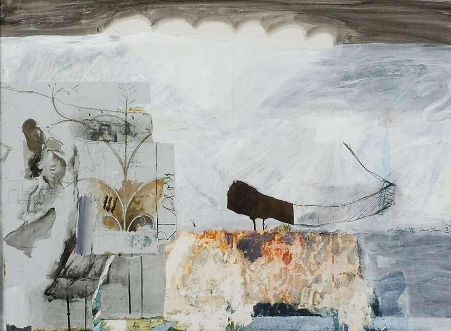 """Patrick Graham's """"Somewhere Jerusalem IV"""" bears the marks of episodic attack - including swathes of over-painting. It uses collage, and includes a fragment of a barge-like, coffin-like form that recurs in his art, engulfed in a sea of washy brushstrokes. Photo: Unknown"""