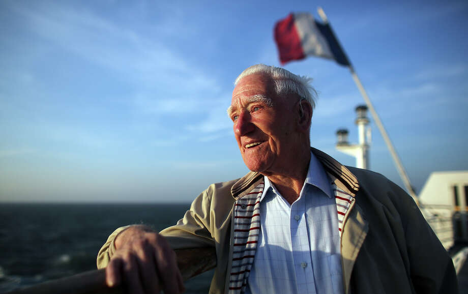 Normandy veteran  Cecil Jeffcoate, 90, (who was dropped by a glider on D-Day) looks towards the French coast on the deck of the cross channel ferry leaving Portsmouth, England for Caen, France on June 4, 2013 at sea in the English Channel. Across Normandy several hundred of the surviving veterans of the Normandy campaign are gathering to commemorate the 69th anniversary of the D-Day landings which eventually led to the Allied liberation of France in 1944. Next year, which will mark the 70th anniversary of the landings, is widely expected to be the last time that the veterans will gather in any great number. Photo: Matt Cardy, Getty Images / 2013 Getty Images