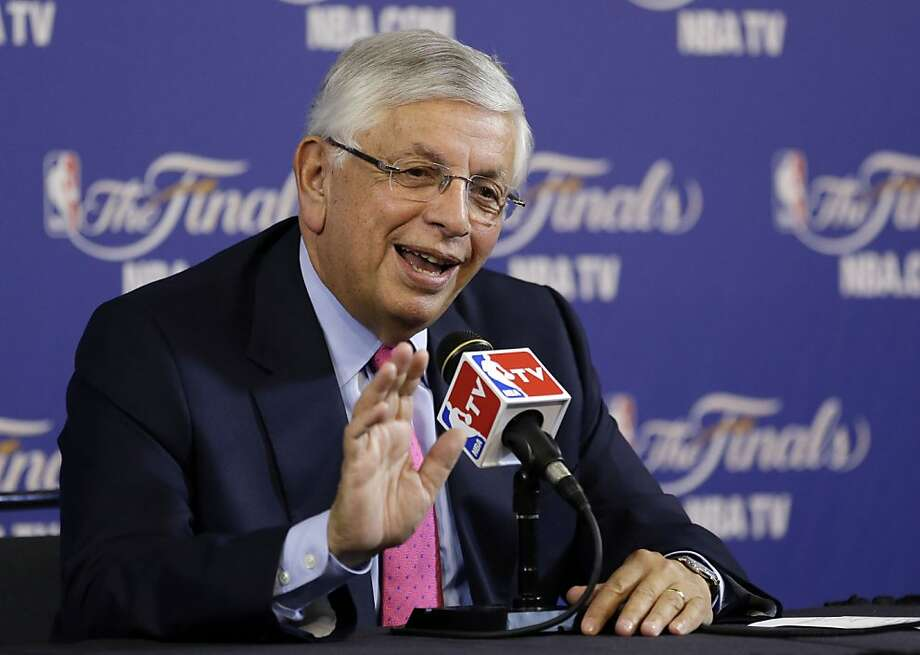 NBA commissioner David Stern speaks at a news conference before the start of Game 1 of the NBA Finals basketball game between the San Antonio Spurs and Miami Heat, Thursday, June 6, 2013 in Miami. Stern is retiring February 1, 2014. (AP Photo/Wilfredo Lee) Photo: Wilfredo Lee, Associated Press