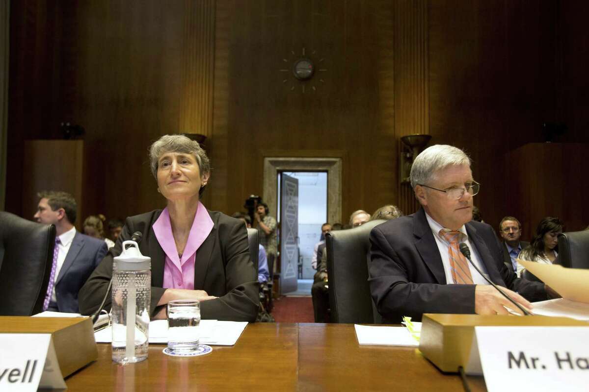 Interior Secretary Sally Jewell and Deputy Secretary David Hayes prepare to testify before the Senate Energy and Natural Resources Committee about programs and activities of the Interior Department.