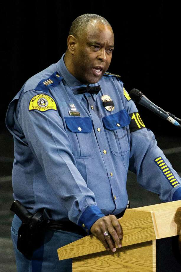 Chief John R. Batiste speaks during a memorial service for the late Washington State Patrol Trooper Sean M. O'Connell Jr. Thursday, June 6, 2013, at the Comcast Arena in Everett. Following a 13-mile vehicular procession, thousands of friends, family and law enforcement attended the ceremony. O'Connell was killed in a collision with a truck while working Conway. Photo: JORDAN STEAD, SEATTLEPI.COM / SEATTLEPI.COM
