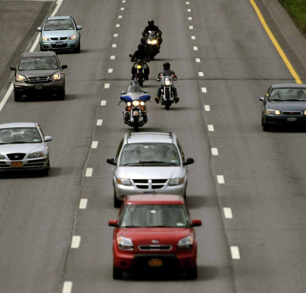 Motorcyclist between exit 6 and 7 87 Nothbound on Thursday June 6, 2013 in Latham, N.Y. (Michael P. Farrell/Times Union)