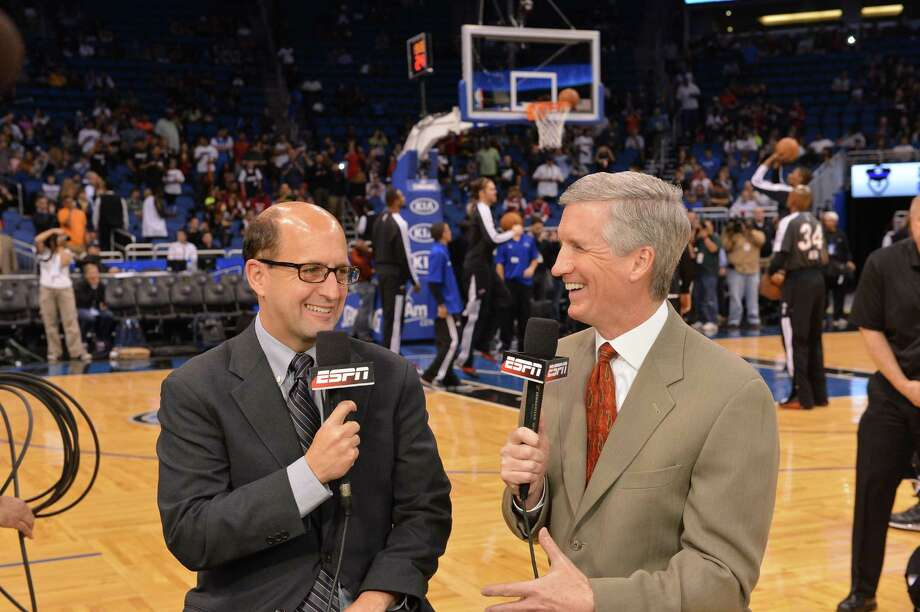 Orlando, FL - March 25, 2013 - Amway Center: Jeff Van Gundy and Mike Breen during a regular season game (Photo by Scott Clarke / ESPN Images) Photo: Scott Clarke / 2013, ESPN Inc.
