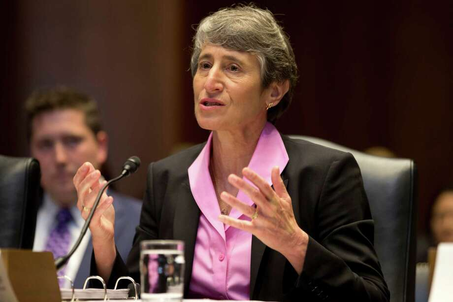 Interior Secretary Sally Jewell testifies on Capitol Hill in Washington, on Thursday, June 6, 2013, before a Senate Energy and Natural Resources Committee hearing to review programs and activities of the Interior Department  (AP Photo/Jacquelyn Martin) Photo: Jacquelyn Martin, STF / AP