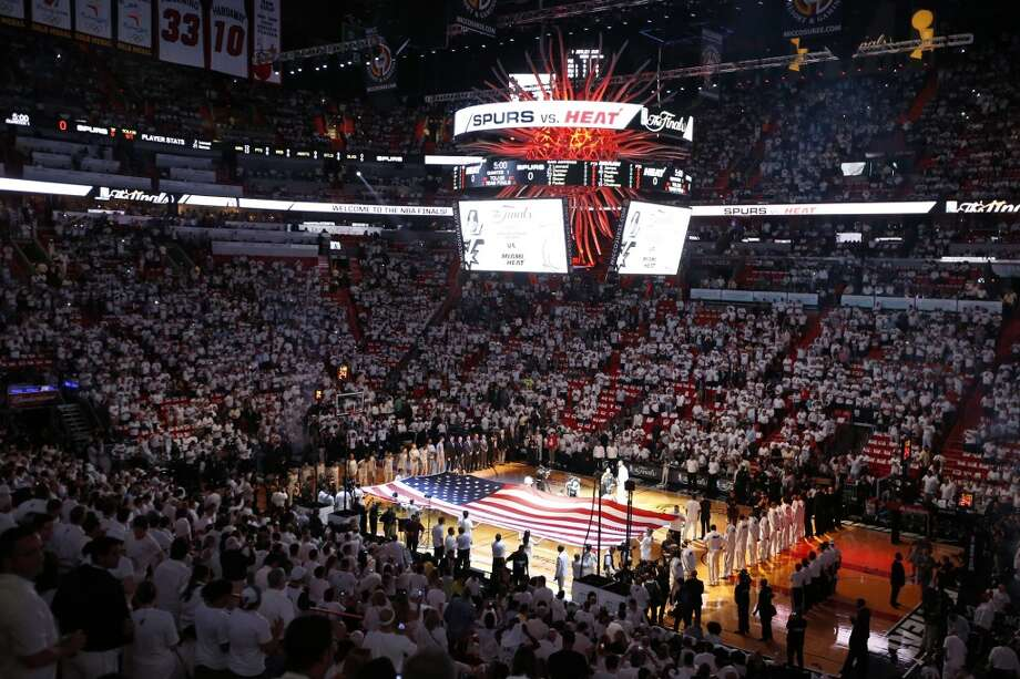 The National Anthem is performed before the start of Game 1 of the 2013 NBA Finals Thursday June 6, 2013 at American Airlines Arena in Miami, Fla.
