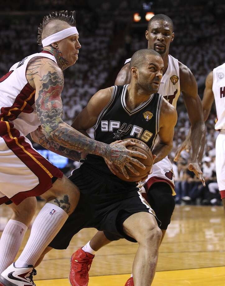 Spurs' against Heats' in the second half of Game 1 of the 2013 NBA Finals at the American Airlines Arena in Miami on Thursday, June 6, 2013. (Kin Man Hui/San Antonio Express-News)