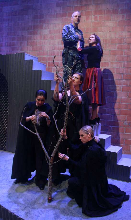 """The witches, played by Regina Ohashi, from left, Amy Garner-Buchanan and Susan Draper, cast spells as MacBeth (Philip Lehl) and Lady McBeth (Kim Tobin) watch from above in Stark Naked Theatre's production of Shakespeare's """"MacBeth."""" Photo: Gary Fountain, Freelance / Copyright 2013 Gary Fountain"""