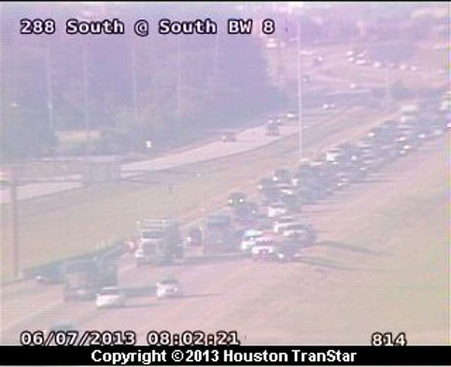 Traffic was slowed on the inbound South Freeway after a crash near the Sam Houston Tollway Friday morning. Photo: Houston Transtar