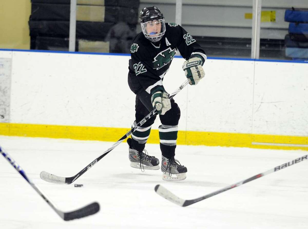 New Milford's Jake Peterson during Wednesday night's game against Masuk at The Rinks at Shelton.