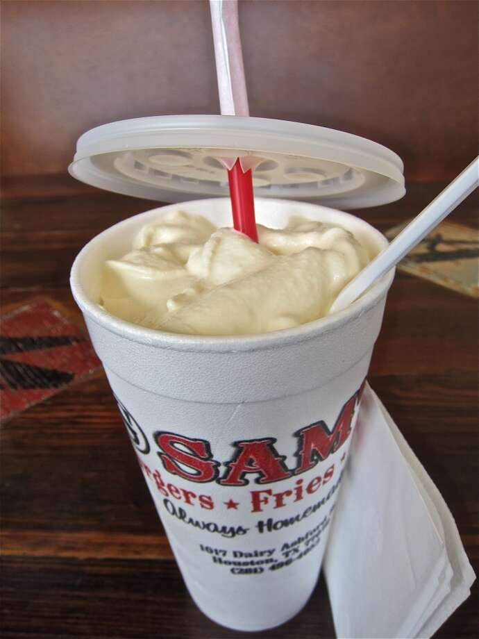 A Bluebell ice cream Homemade Vanilla shake at Sam's Burgers, Fries & Pies.