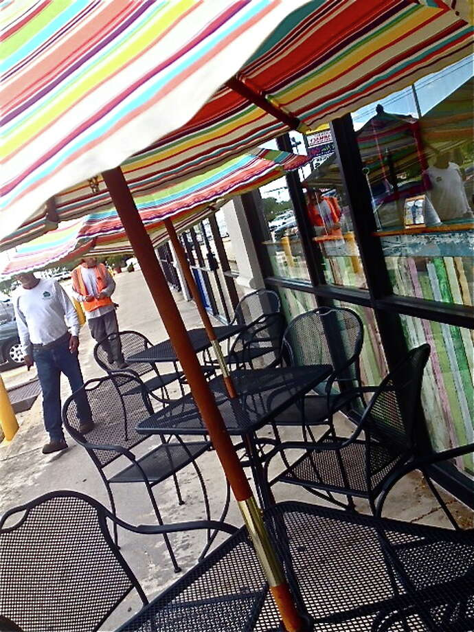 The outdoor dining terrace at Sam's Burgers, Fries & Pies.