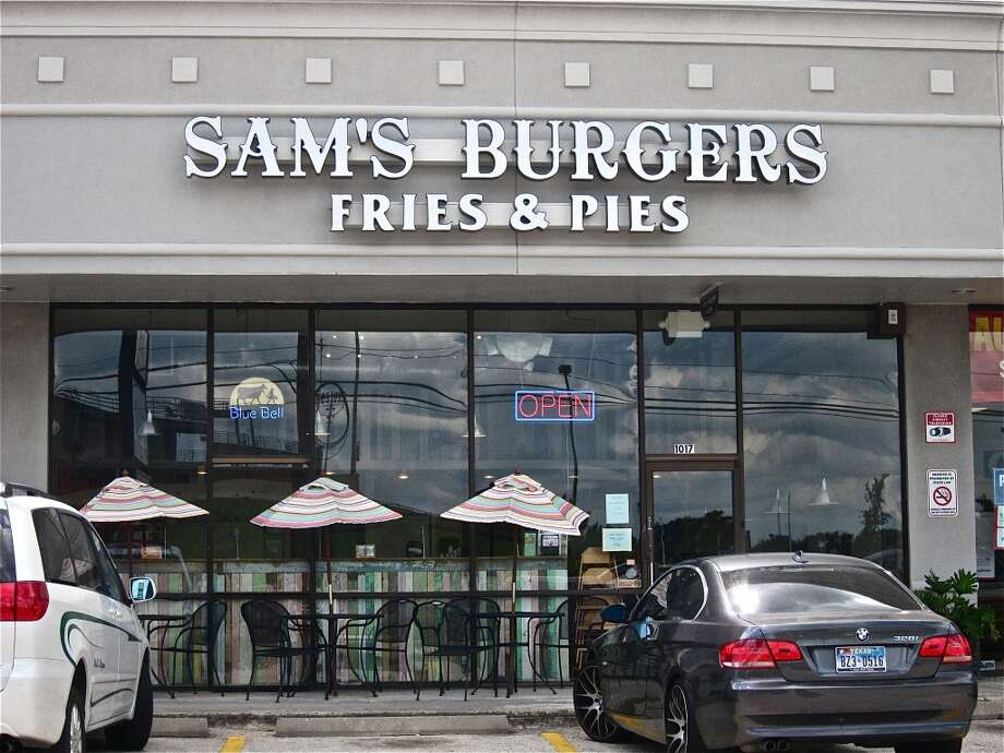 The facade of Sam's Burgers, Fries & Pies on Dairy Ashford.