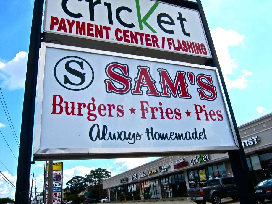 Signage outside Sam's Burgers, Fries & Pies on Dairy Ashford.