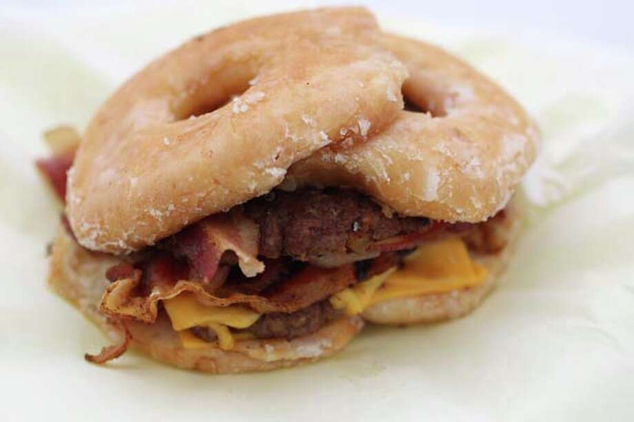 This is the Donut Double Double Bacon Cheeseburger which won an award at the rodeo this year. 