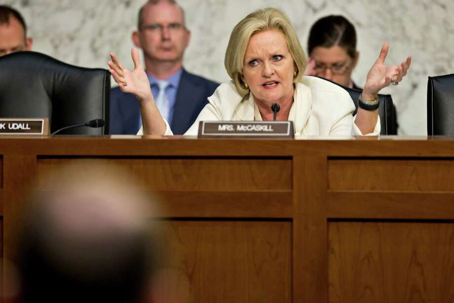Sen. Claire McCaskill, D-Mo., questions military leaders as the Senate Armed Services Committee investigates the growing epidemic of sexual assaults within the military. Photo: J. Scott Applewhite, Associated Press / AP