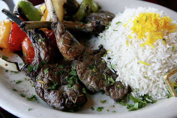 Frenched Cut Lamb Chops are served June 4, 2013 at Pasha Mediterranean Grill. Pasha won Readers' Choice Middle Eastern. The restaurant, located at 9339 Wurzbach Rd, has been open for five years.